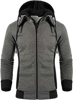 QPNGRP Men's Hoodies Slim Fit Double Zipper Fleece Hooded Sweatshirt Jacket