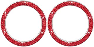 Garneck 4 peças de anel de emblema de strass de cristal para carro adesivo de botão de ignição Bling Auto Start Engine Cov...