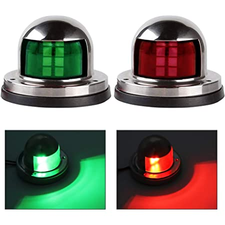Pack of 2 Red /& Green 8 LED Port Starboard Side Lamp Sealed Bulb Marine Sailing Signal Stainless Steel Navigation Lights for Boat Ship Barge Fishing Chandlery Yacht 12V DC Waterproof RR12 MADCATZ