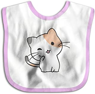 UBCATDESA Wink cat Baby Bibs, Unisex Baby Soft Cotton Easily Clean Teething Bibs(Blue&Pink)
