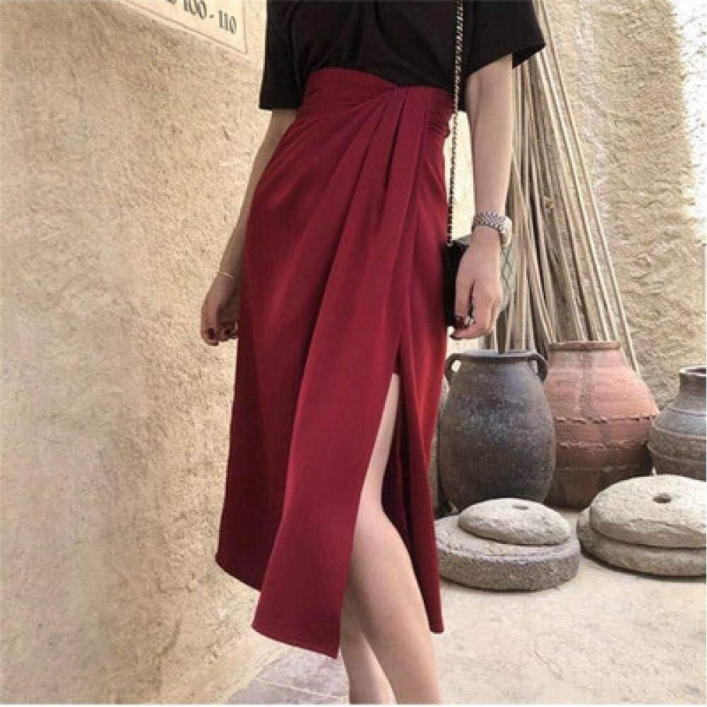 WEDFGX Dew Or Ready-to-Wear French Retro Style Split Skirt Female High Waist Irregular