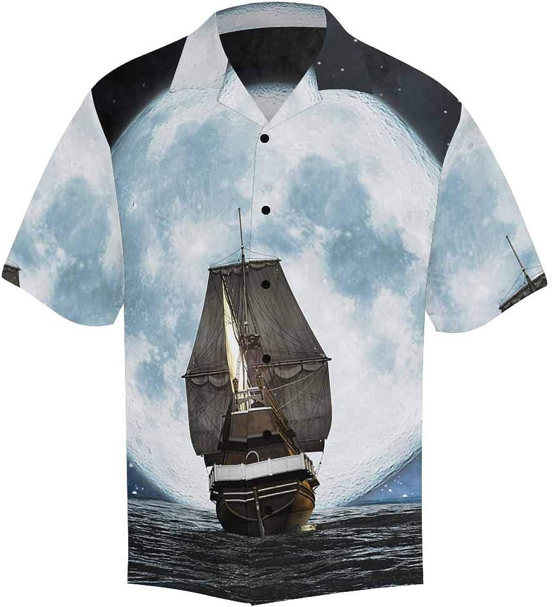 InterestPrint Men's Casual Button Down Short Sleeve Music Bear Hawaiian Shirt (S-5XL)