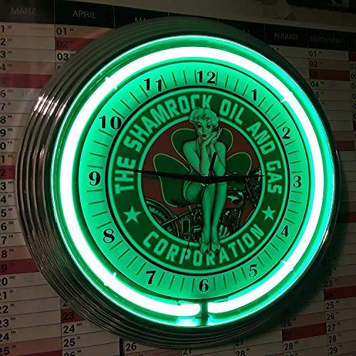 Neon reloj–Pinup Girl de The Shamrock Oil and gas Corporation Sign Taller–Reloj pared iluminado Neon Verde