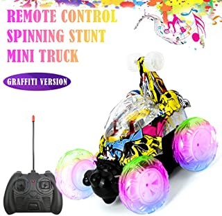 Ycnasss Remote Controlg Stunt RC Rolling Stunt car Invincible Tornado Twister Remote Control Truck,360 Degree Spinning and Flips with Color Flash & Music for Kids (Graffiti)