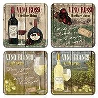 ワイン 赤 白 Vino Rosso & Bianco Set/コースター 4枚 セット (ブリキ製)