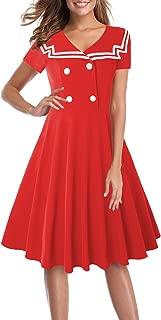 Halloween Sailor Dress for Women Fit and Flare Uniform Skirt Nautical A Line Dress