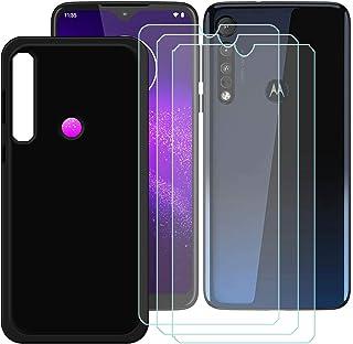 YZKJ Skal för Motorola G8 Plus Cover svart silikon skyddsskal TPU skal Case 3 stycken pansarglas skärmskydd för Motorola G...
