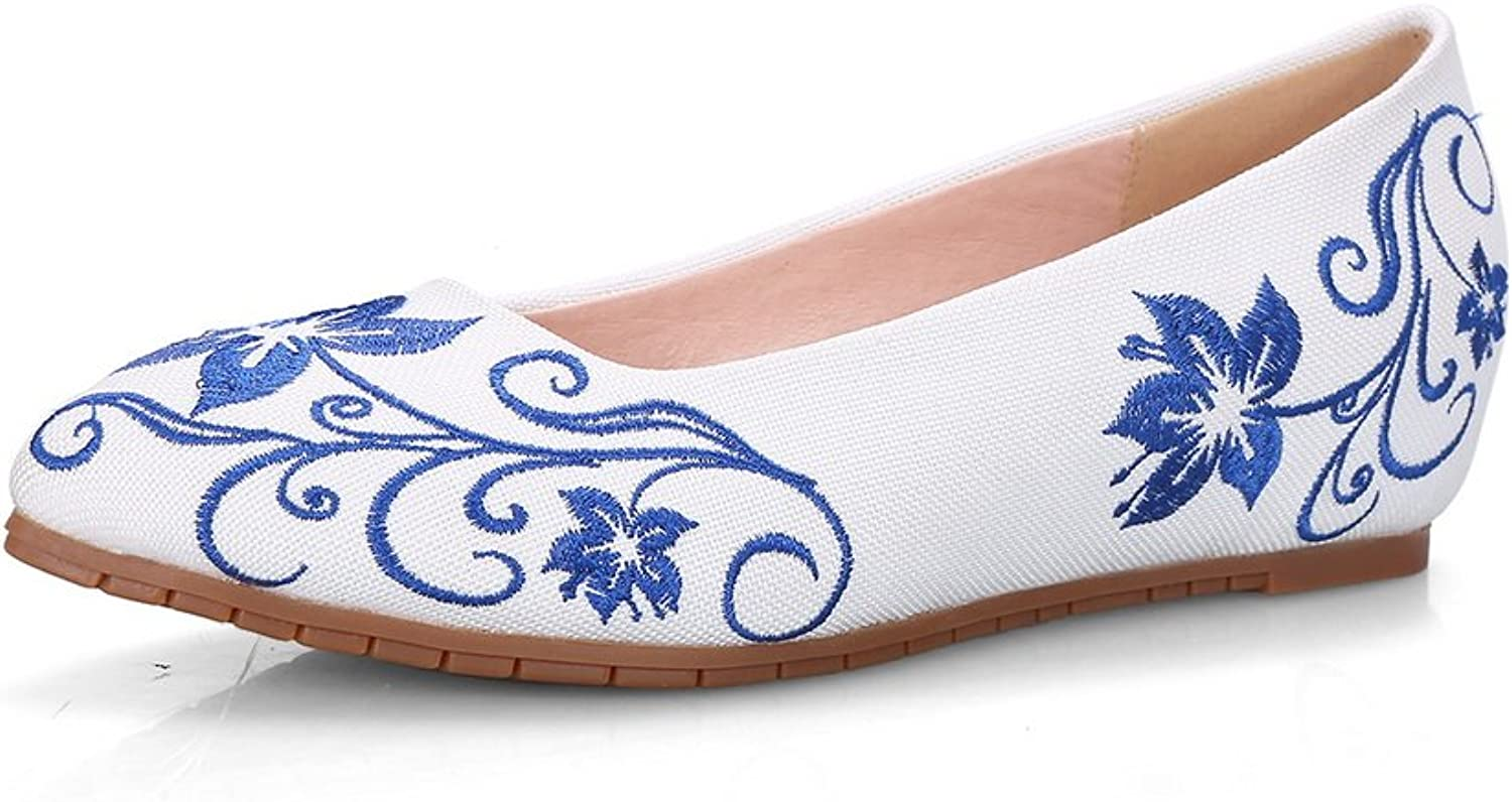 AdeeSu Womens Pull-On Embroidered Pointed-Toe Fabric Flats-shoes