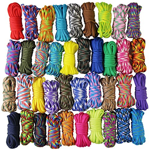 UOOOM 10 pcs Color Paracord Bracelet rope Parachute Cord Outdoor Survival Rope Set DIY Manual Braiding 10 Feet Colorful x 10 pcs