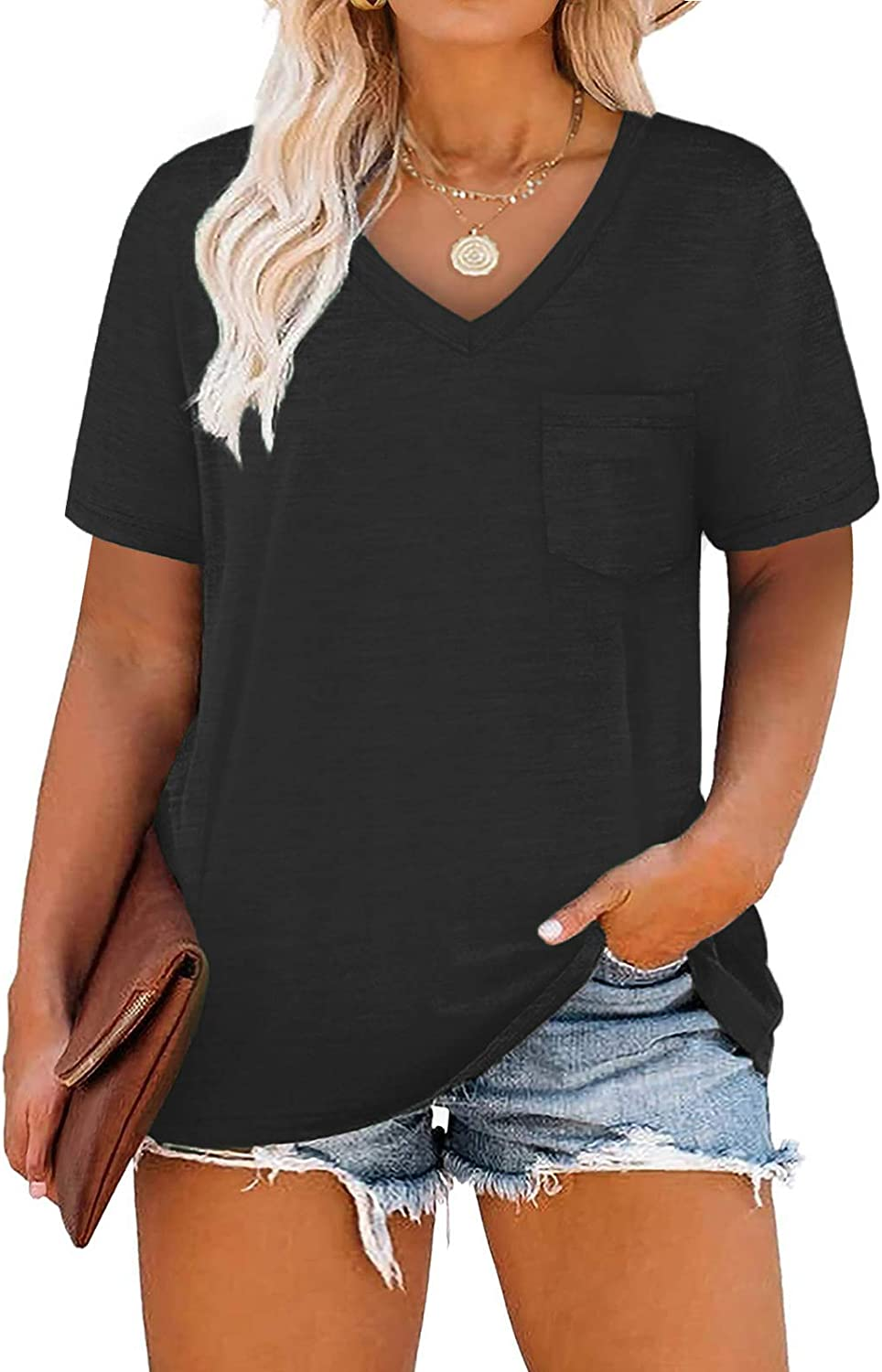 VOGRACE Womens Plus-Size Tops Summer V Neck Shirts Short Sleeve Tees with Pocket