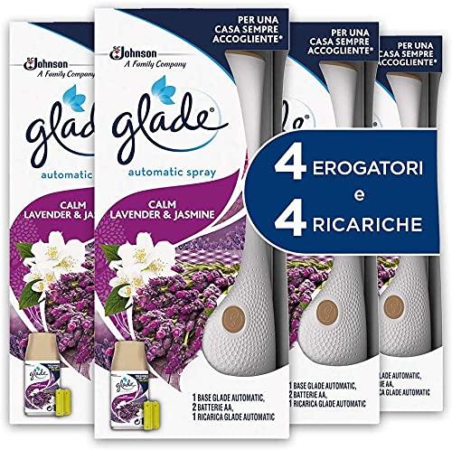 Glade Automatic Spray Profumatore per Ambienti Base con Ricarica, Fragranza Lavanda, 4 Erogatore + 4 Ricarica 269 ml