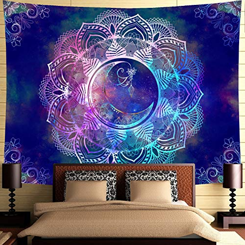Ameyahud Mandala Tapestry Blue Starry Night Tapestry Mandala Celestial Moon Tapestry Wall Hanging Bohemian Psychedelic Wall Tapestry Hippie Boho Trippy Tapestry for Ceiling Living Room Home Decor