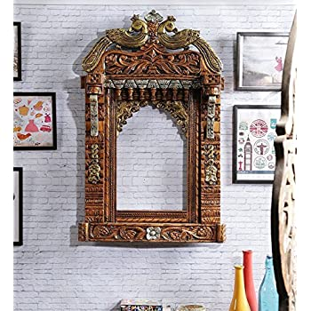Craftatoz Traditional Wooden Jharokha and Mirror Frame Rajasthani Style Hand-Carved Wooden Jharokha Wall Decor