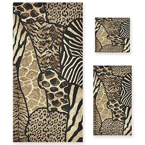 Naanle Juego de 3 toallas de baño vintage con estampado de leopardo, algodón altamente absorbente, toalla de baño grande+toalla de mano+toalla, paquete de 3 toallas suaves para decoración
