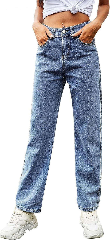 MASZONE Straight Jeans for Women, Womens Y2K Fashion High Waist Casual Jeans Stretch Slim Fit Denim Pants Streetwear