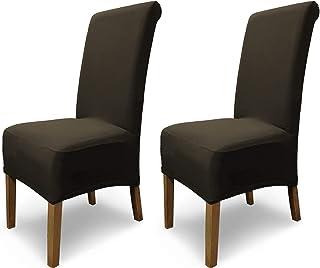 SCHEFFLER-Home Emma 2 Fundas de sillas, Estirable Cubiertas, Algodón extraíble flexibel Funda con Banda elástica, Marrón