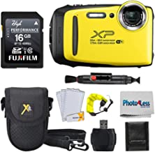 Fujifilm FinePix XP140 Digital Camera Yellow + 16GB SD Card + Case + Floating Strap + Cleaning System +Memory Card Wallet + Screen Protectors - Top Value Bundle