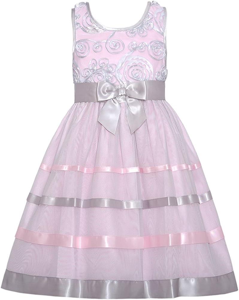 Bonnie Jean Girls 4-6x Pink Grey Bonaz Satin Ribbon Mesh Dress