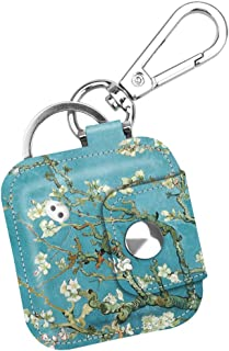 Fintie Case with Carabiner Keychain for Tile Mate, Tile Pro, Tile Sport, Tile Style Key Finder Phone Finder, Anti-Scratch Vegan Leather Protective Skin Cover with Speaker Cutout, Blossom
