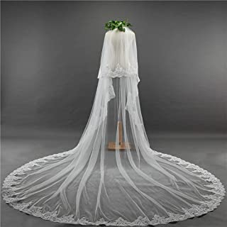 Wedding Veil,Bridal Veil Romantic Luxurious Lace Super Large Trailing Double Layer Cathedral Wedding Veil with Metal Comb