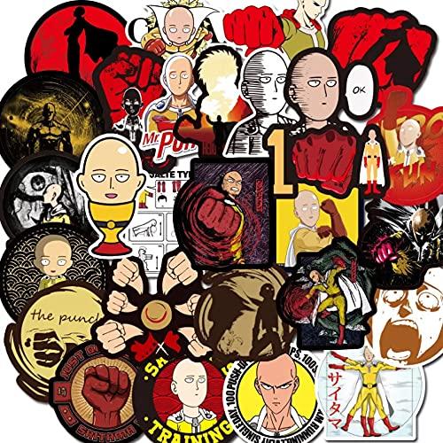 JINGZHONG 70 unids/PackAnime One Punch-Man Pegatinas Impermeables para Muebles, Escritorio de Pared, Silla DIY, Juguete, Maletero, Ordenador, Motocicleta
