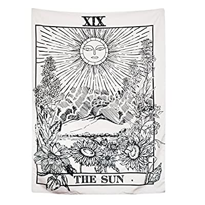 BLEUM CADE Tarot Tapestry The Moon The Star The Sun Tapestry Medieval Europe Divination Tapestry Wall Hanging Tapestries Mysterious Wall Tapestry for Home Decor (51×59 Inches, The Sun)