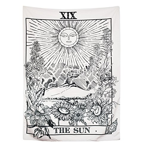 """BLEUM CADE Tarot Tapestry The Moon The Star The Sun Tapestry Medieval Europe Divination Tapestry Wall Hanging Tapestries Mysterious Wall Tapestry for Home Decor (The Sun, 59""""×59"""")"""