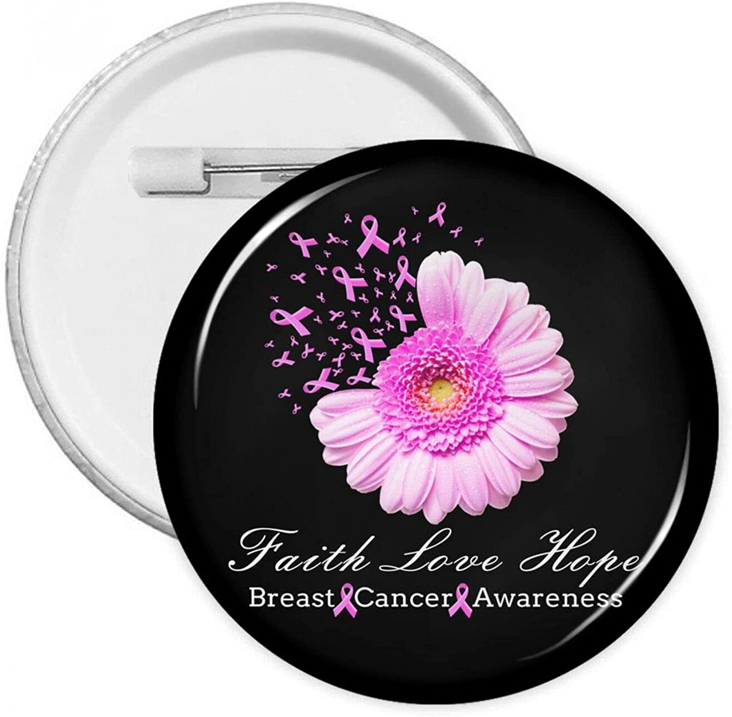 Faith Love Hope Breast Cancer Badges Round P Awareness-4 40% OFF Cheap Sale trend rank Button
