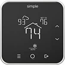 The Simple Thermostat, Energy Star Wi-Fi Smart Thermostat With Mobile App, 7 Day Schedule, Compatible with Alexa (Black With C-Wire)