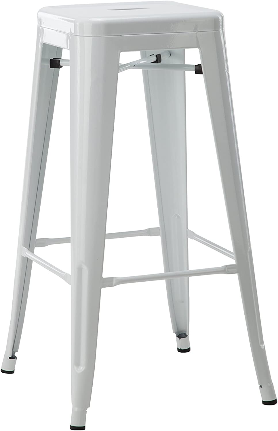 Hodedah 24  Counter Height Metal Bar Stool, Indoor Outroom Use, White