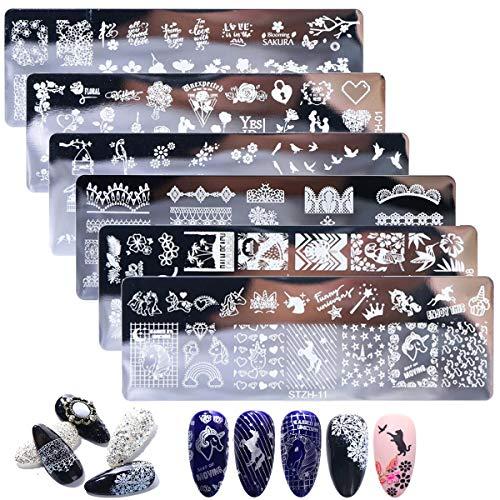 6Pcs Nail Stamping Plate, Mwoot Nail Art Plates Nagelstempel Maniküre Tool Kit, Unicorn Cat Bird love Leaves Lace Nagel Stamping Schablonen