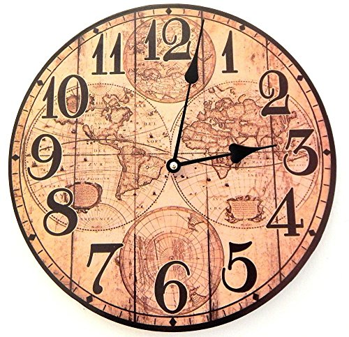Reloj de Pared para Cocina Retro Look Vintage con Mecanismo Silencioso Díametro 30cm (Mapamundi)