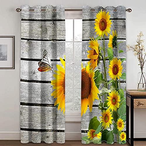 Cortinas 2 x W 36' x H 84' Cortinas Opacas Impresas en 3D-para Dormitorio Infantil / guardería 2 Piezas Vintage tablones Plantas Flores.