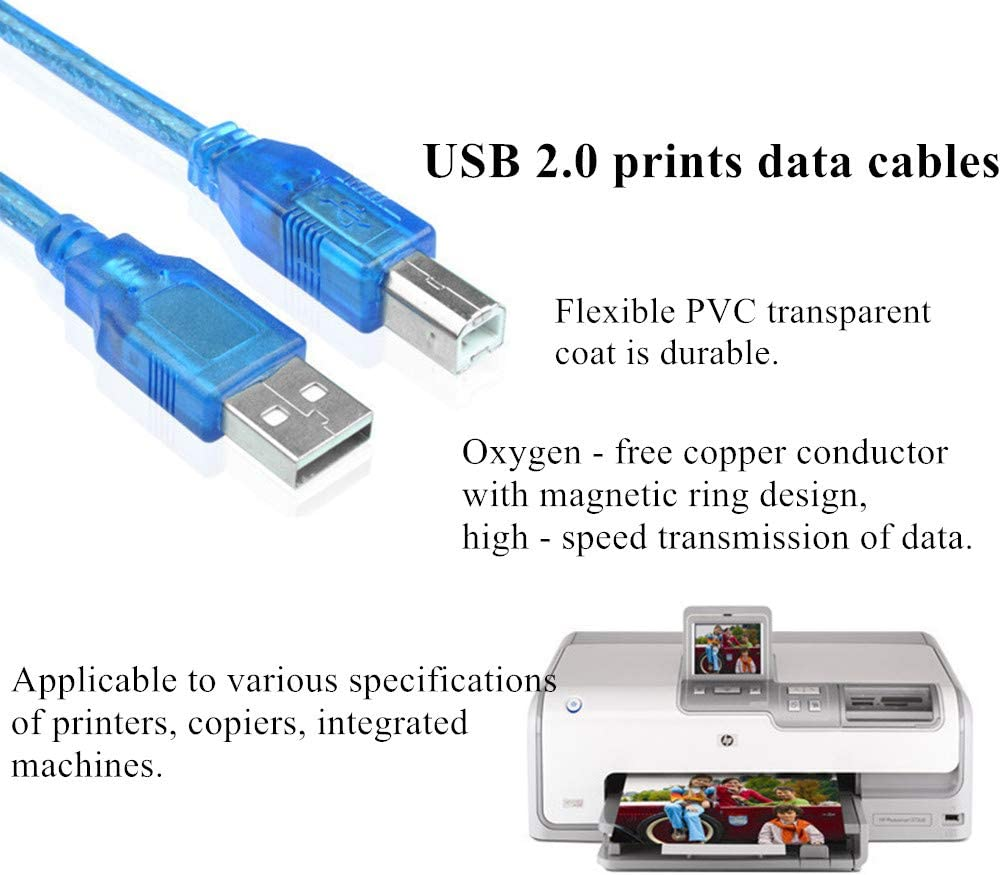 JISNKEI USB 2.0 Blue Printer Cable,9.8 Feet/3m USB Printer Adapter Cable,USB 2.0 Type A Male to B Male Data Connector for Printer,PC Scanner etc