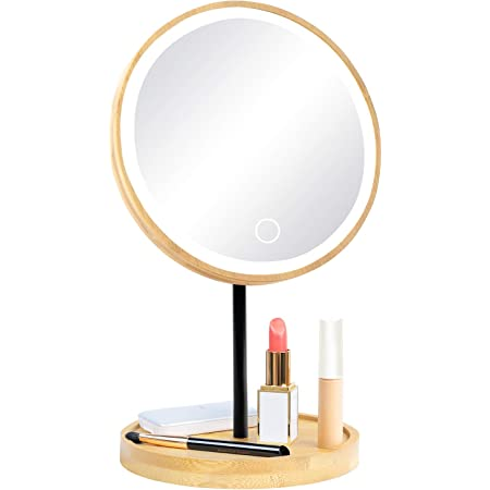 Lighted Makeup Mirror with Lights - Fabuday Bamboo Mirror with 3 Color Lights - Rechargeable Touch Screen Lighting Adjustable Light Up Mirror for Makeup with Stand
