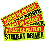 Botocar Student Driver Magnet Car Signs, Stronger Student Driver Magnetic Reflective Rookie Bumper Magnet for New Drivers, Vehicle Safty Magnetic Sticker Yellow Large Bold Text 10 x 3.5 Inch, Set of 3