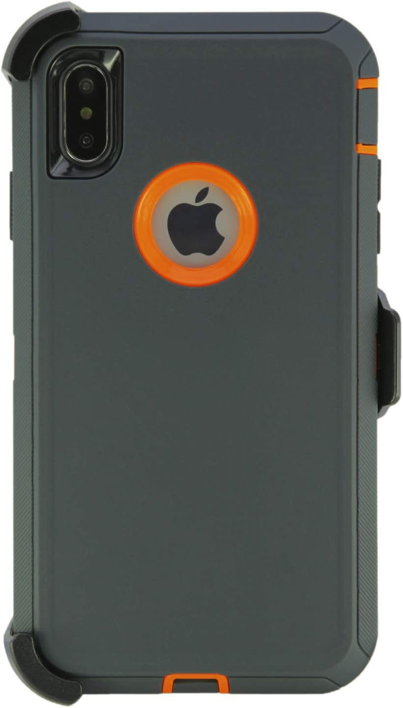"""WallSkiN Turtle Series Belt-Clip Holster Cases for iPhone Xs Max (6.5""""), 3-Layer Full Body Protective Defender Cover & Certified Shock, Drop, Dust Proof - Dark Grey/Orange"""