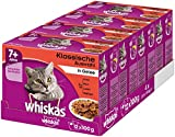 Whiskas 7 + Comida para Gatos – Selección clásica en Jalea – Comida húmeda Gatos a Partir de 7 años y Mayores – 48 Bolsas de 100 g
