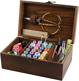 MissLytton Sewing Kit Box Basket, Wooden Hand Home Sewing Repair Tool Kit, Beginner Universal Sew Kit Accessories for Women, Men, Adults, Girls, Kids (Retro Dandelion)