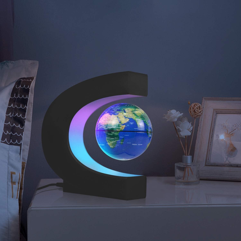 BLACK JOWHOL Magnetic Floating Globe with LED Light,C Shape Levitation,Auto-Rotating Globe,World Map for Desk Decoration,Gift for Men,Kids