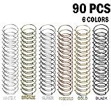Tamicy 90 Pcs (6 Colors) Expandable Bangle Charms Bracelets - Adjustable Wire Bracelets, S...