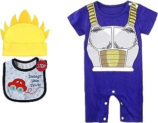 Geek Gear Dragon Ball Z Baby Vegeta Romper Toddler Jumpsuit Costume Goku Cosplay Free Bib and Hat