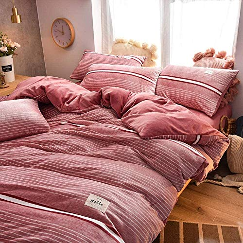 LIjiMY Super King Christmas Duvet Cover Sets Milk Velvet Four Piece Thick Bed Sheet Double Sided Plus Velvet Reversible Duvet Cover Bed Coverlet Pillowcase F_1.8m Sheets (4 Pieces)
