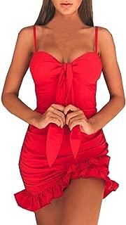❤Fuibo Kleid Damen, Frauen Kleid Riemchen Kleid Ärmellos Clubwear Cocktail, Figurbetontes Kleid ❤ Sommer kleid Abend kleid Party kleid Cocktail kleid