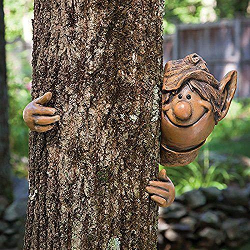 Surfiiiy Skulptur Deko Skulpturen,Hugger Baum Garten Peeker Polyresin Outdoor Baum Skulptur - Geschenke und Gartendeko Statue Gesicht für Bäume Statue Deko Garten Dekoration Figuren Vintage