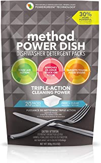 Method Power Dish Dishwasher Detergent Soap Packs, Free + Clear, 20 Load (6 Count)