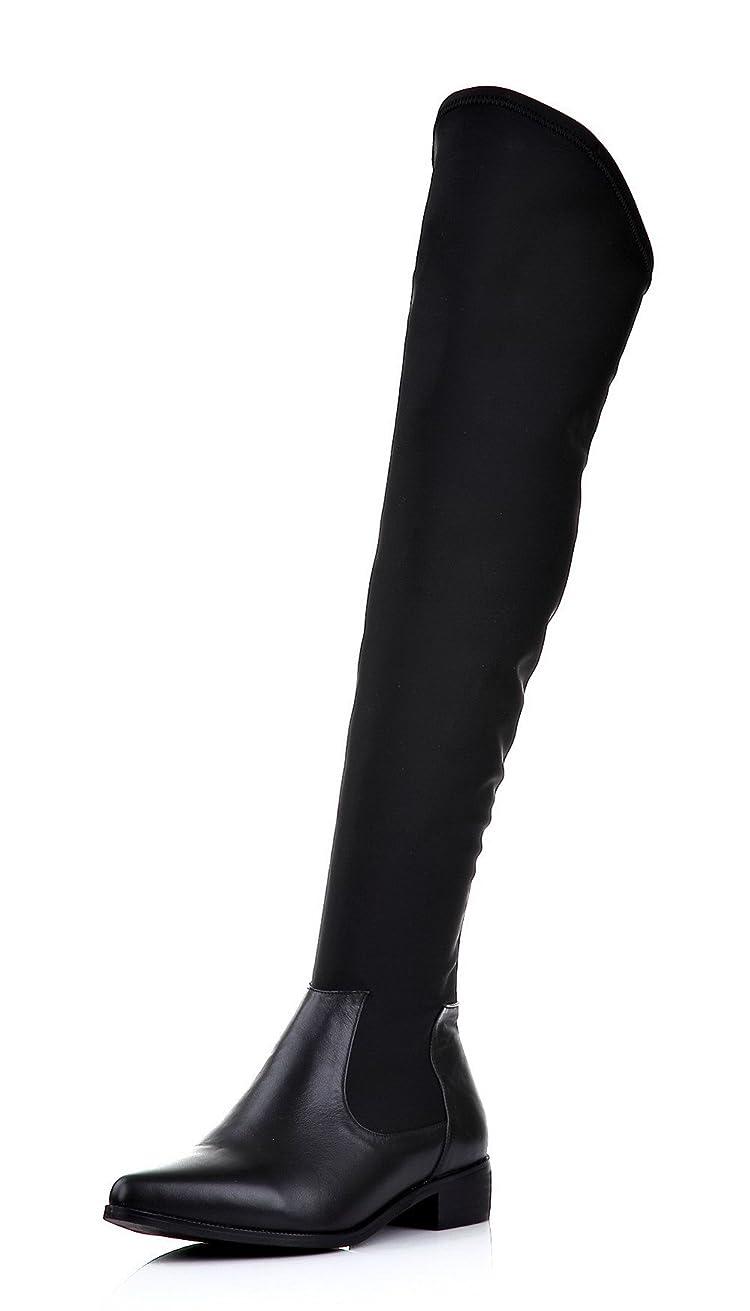 鼻施し浸す(ウンファッション) WeenFashion 女性用 ポインテッドトゥ ニーハイブーツ ゴムソール