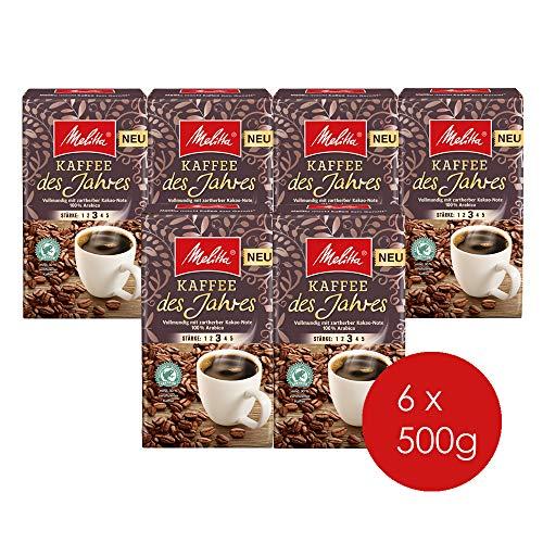 Melitta Gemahlener Röstkaffee, Filterkaffee, vollmundig mit nussiger Note, kräftiger Röstgrad, Stärke 4, Kaffee des Jahres, 500 g