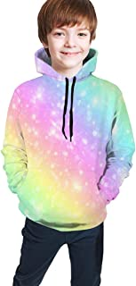 Cyloten Kid's Sweatshirt Galaxy Fantasy Pastel Marble Pink Hoodie Teen's Sportswear Fleece Hood for Fall-Winter