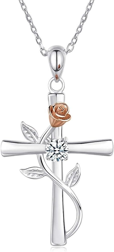 blinggem collane da donna argento placcato oro bianco con zirconia cubica rotonda croce religiosa bgn604